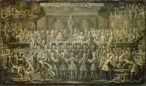 Johann Friedrich Wentzel: Krönungsmahl Friedrichs I., GK I 9322. Stiftung Preußische Schlösser und Gärten Berlin-Brandenburg (Dieses Bild ist in höherer Auflösung unter http://www.fotothek.spsg.de/ Fotonummer F0015793 zu finden).