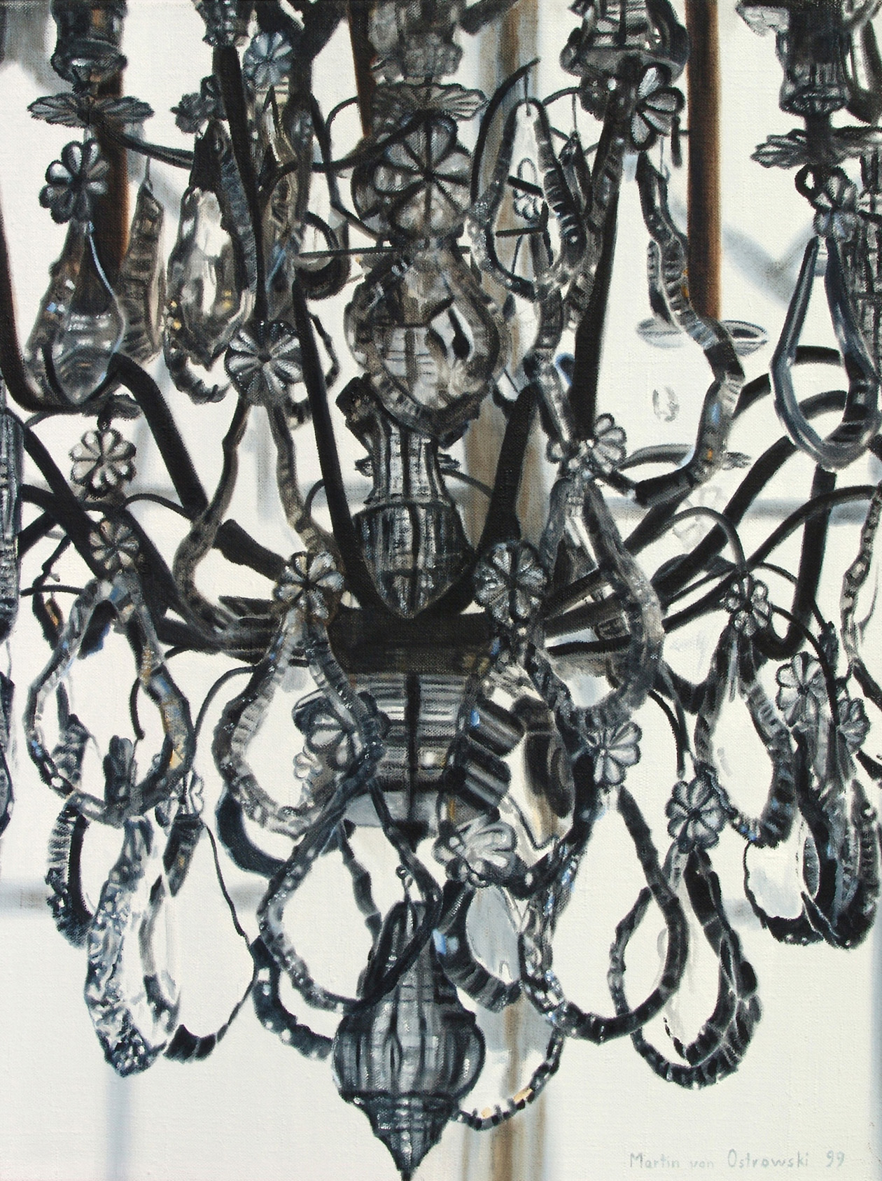 Martin Von Ostrowski, Kronleuchter Marmorsaal Sanssouci Schwarzweiss, 1999;  Öl Auf Leinwand, 80