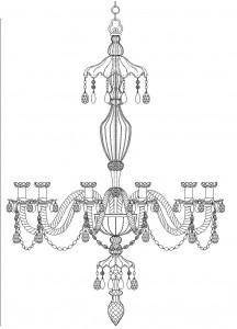 Leuchter Detail 3, Zeichnung: Zofia Maciakowska